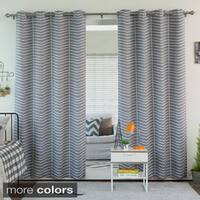 Aurora Home Sketched Chevron Room Darkening Grommet Top Curtain Panel Pair