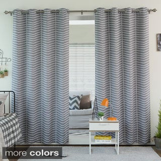 High Quality Aurora Home Sketched Chevron Room Darkening Grommet Top Curtain Panel Pair