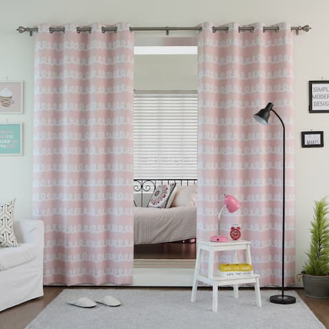 Aurora Home Doodle Print Room Darkening Grommet Top Curtain Panel Pair