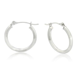 Gioelli 10k White Gold High Polished & Brushed Pattern Hoop Earrings