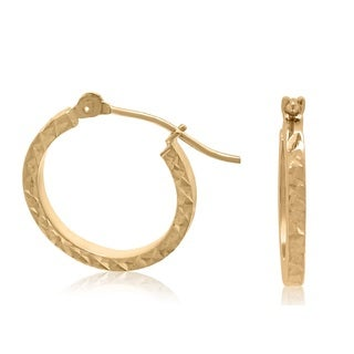 Gioelli 10k Gold Diamond Cut Tube Hoop Earrings