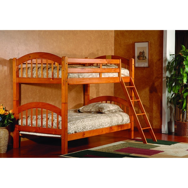 Shop Oak Twin Twin Arch Stackable Bunk Bed Free Shipping Today