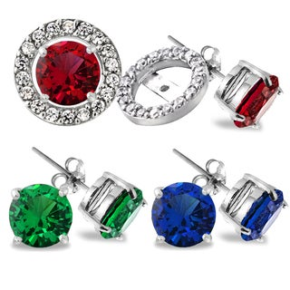 Glitzy Rocks Sterling Silver Created Gemstone Stud Earrings with Halo Earring Jacket (Set of 3)