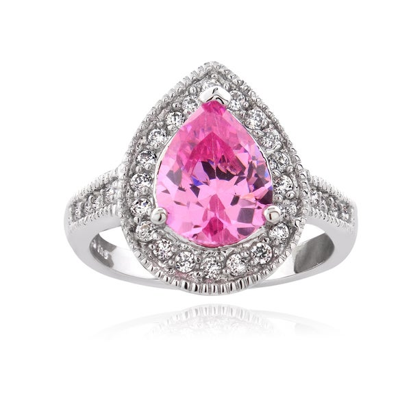 Icz Stonez Sterling Silver 2 1/10ct TGW Pink Cubic Zirconia Pear Shaped Ring. Opens flyout.