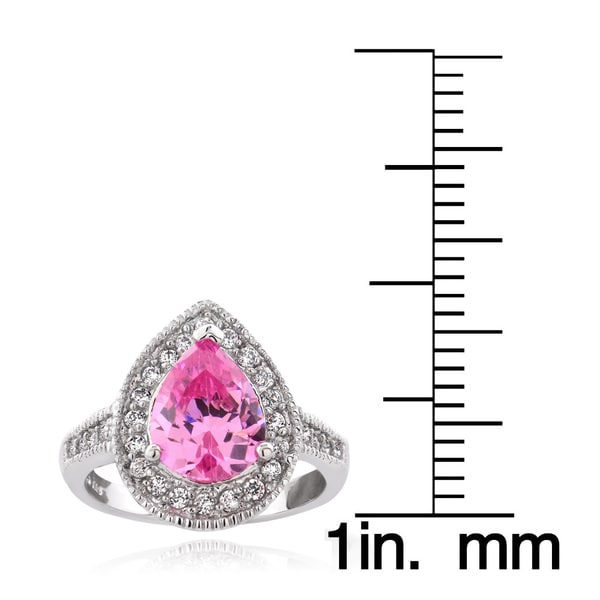 Icz Stonez Sterling Silver 2 1/10ct TGW Pink Cubic Zirconia Pear Shaped Ring