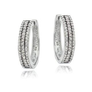 DB Designs Sterling Silver 1ct TDW Diamond Hoop Earrings