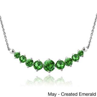 Glitzy Rocks Sterling Silver Gemstone or Cubic Zirconia Birthstone Graduated Necklace