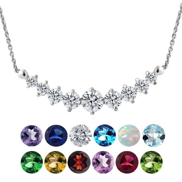 Glitzy Rocks Sterling Silver Gemstone or Cubic Zirconia Birthstone Graduated Necklace. Opens flyout.