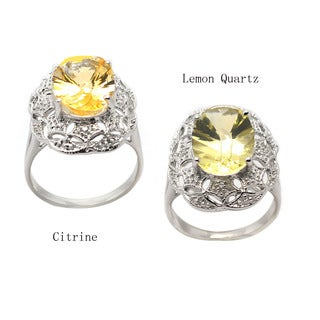 De Buman Genuine Lemon Quartz,Citrine with Cubic Zircornia Sterling Silver Ring