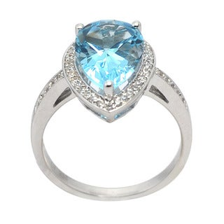 De Buman Sterling Silver Genuine Sky Blue Topaz and Cubic Zirconia Ring