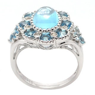 De Buman Sterling Silver Genuine Swiss Blue Topaz and Cubic Zirconia Ring