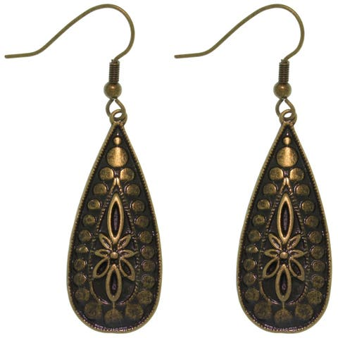 Antique Finish Brass and Pewter Burst of Circles Long Teardrop Dangle Earrings