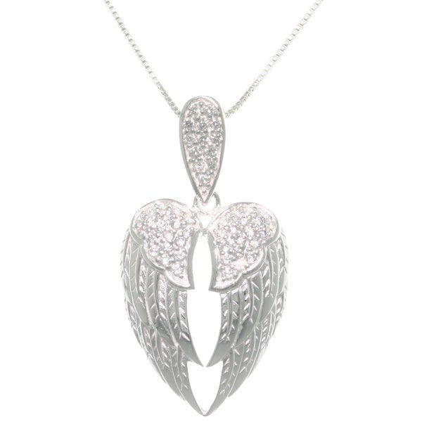 Sterling Silver Pave Cubic Zirconia Angel Wings Pendant Necklace