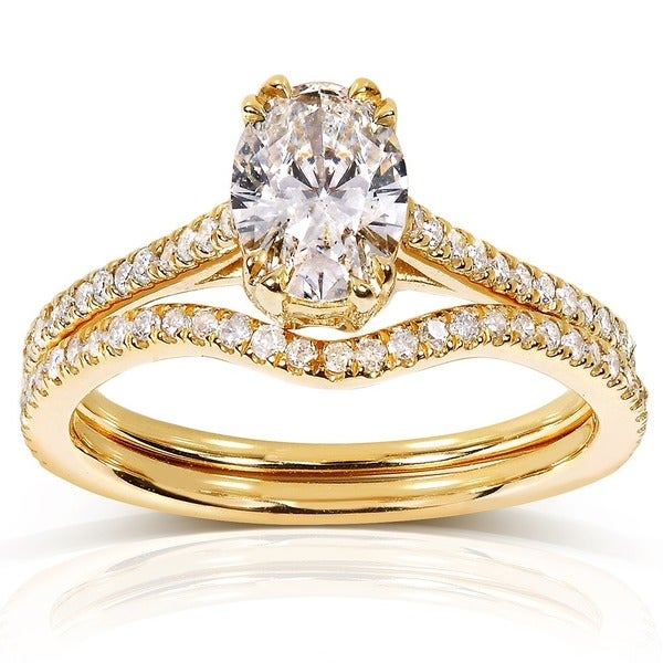 Annello by Kobelli 14k Yellow Gold 1ct TDW Certified Oval-cut Diamond Bridal Set Ring (H, SI2)