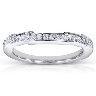Annello by Kobelli 14k White Gold 1/6ct TDW Contoured Diamond Wedding Band