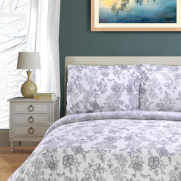 Superior Blossom 300 Thread Count 3-piece Cotton Duvet Cover Set