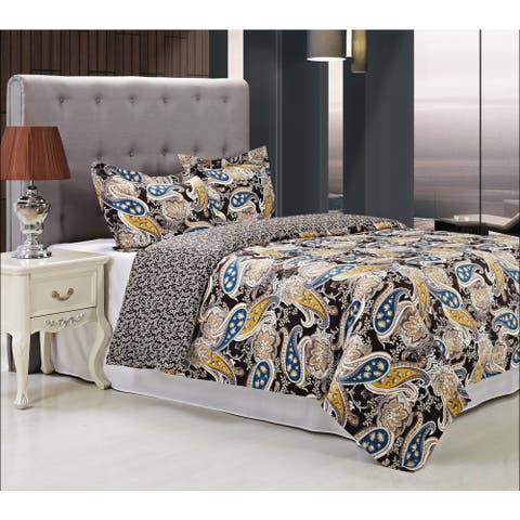 Miranda Haus Midnight 300 Thread Count 3-piece Cotton Duvet Cover Set