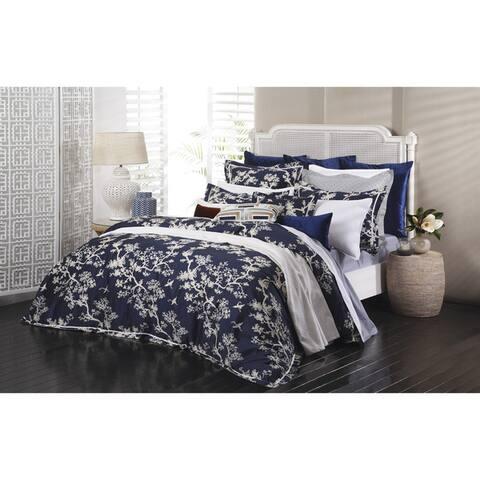 Crane Floral Sateen Cotton 3-piece Duvet Cover Set