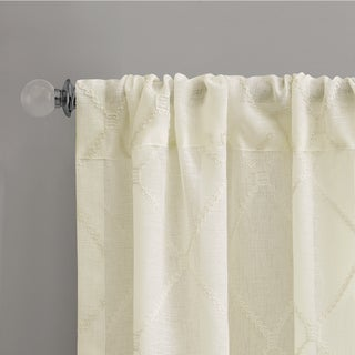 Madison Park Iris Embroidered Diamond Sheer Curtain Panel