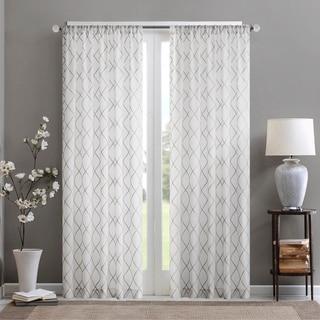 Madison Park Iris Embroidered Diamond Sheer Single Curtain Panel (50W X 84L - White/Grey)