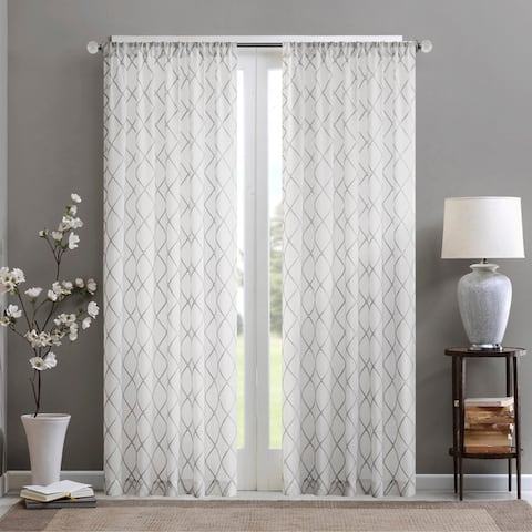 Madison Park Iris Embroidered Diamond Sheer Single Curtain Panel