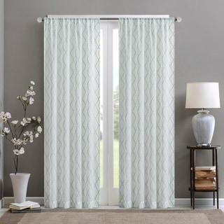 Madison Park Iris Embroidered Diamond Sheer Single Curtain Panel (50W X 84L - WHITE/AQUA)