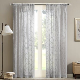 Madison Park Iris Embroidered Diamond Sheer Curtain Panel