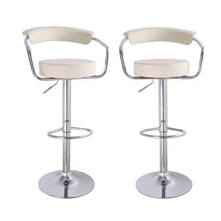 Cream Faux Leather, Curved Back, Adjustable Barstools with Chrome Arms and Base (Set of 2)