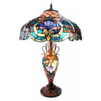 Chloe Tiffany Style Victorian Design Double-lit 2+1-light  Bronze Table Lamp