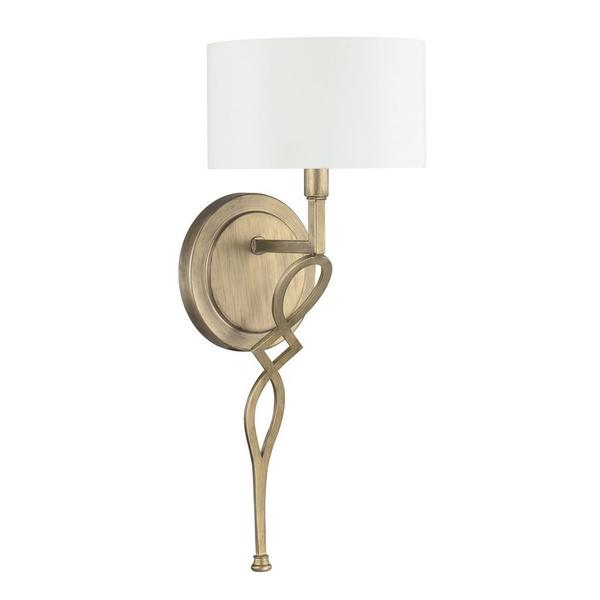 Landry 1-light Wall Sconce in Brushed Gold with White Fabric Shade - Free Shipping Today ...