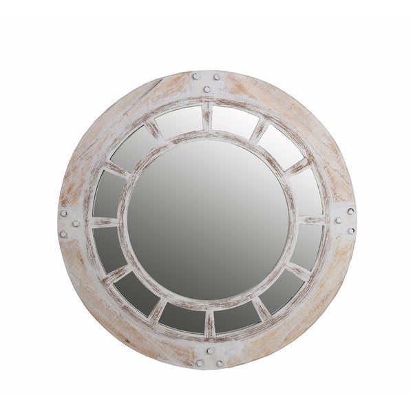 Shop 32 Inch Round Whitewash Mirror Free Shipping Today