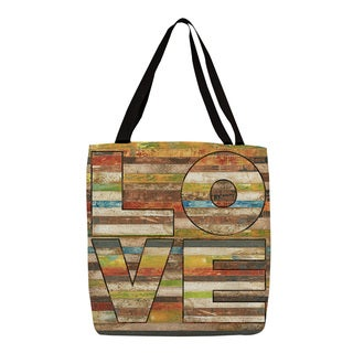 Love Striped Graphic Print Tote