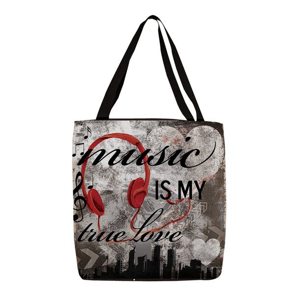 Music is My True Love' Graphic Printed Tote