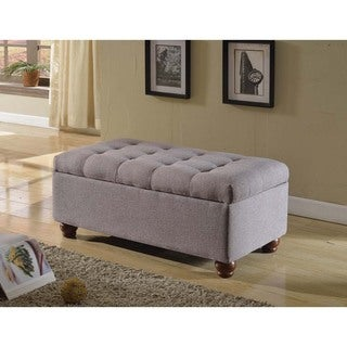 HomePop Tufted Linen Storage Bench