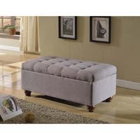 HomePop Espresso Grey Tufted Linen Storage Bench