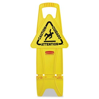 Rubbermaid Commercial Yellow Stable Multi-lingual Safety Sign