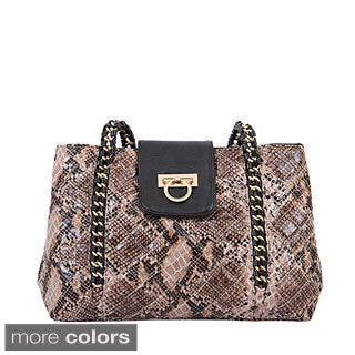 Mellow World 'Leona' Snake-embossed Chain Shoulder Bag