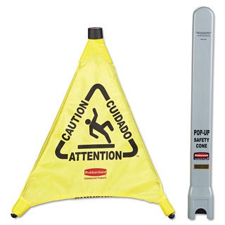 Rubbermaid Commercial Yellow Fabric Multilingual 'Caution' Pop-up Safety Cone