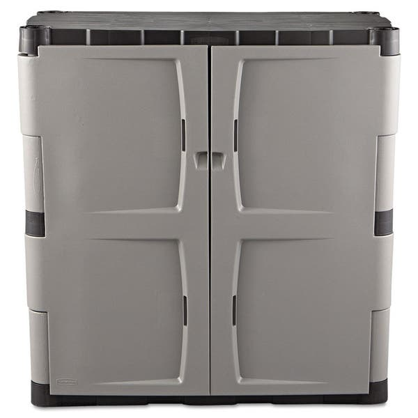 Grey Black Double Door Storage Cabinet