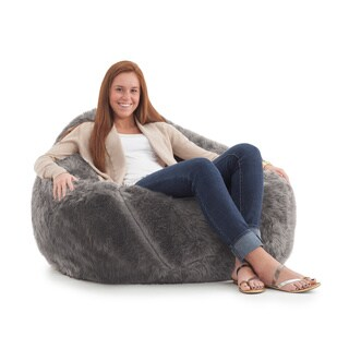 BeanSack Big Joe Lux Faux Fur Large Teardrop Bean Bag Chair