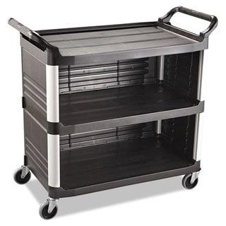 Rubbermaid Commercial Black 300 lb Cap Xtra 3-shelf Utility Cart