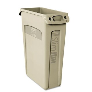 Rubbermaid Commercial Beige 23 gal. Plastic Slim Jim Receptacle with Venting Channels