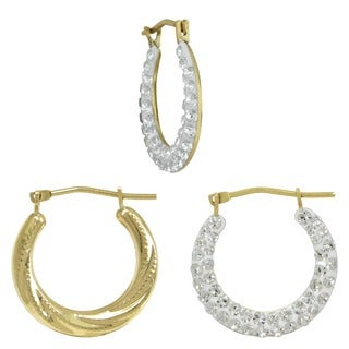 10k Yellow Reversible Crystal Swirl Hoop Earrings