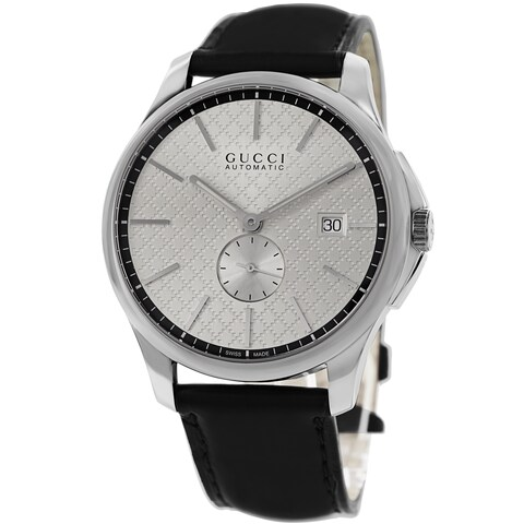 Gucci Men's 'Timeless' Silver Dial Black Leather Strap Automatic Watch