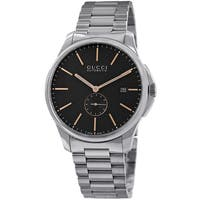 Gucci Men's YA126312 'Timeless' Black Dial Stainless Steel Automatic Watch