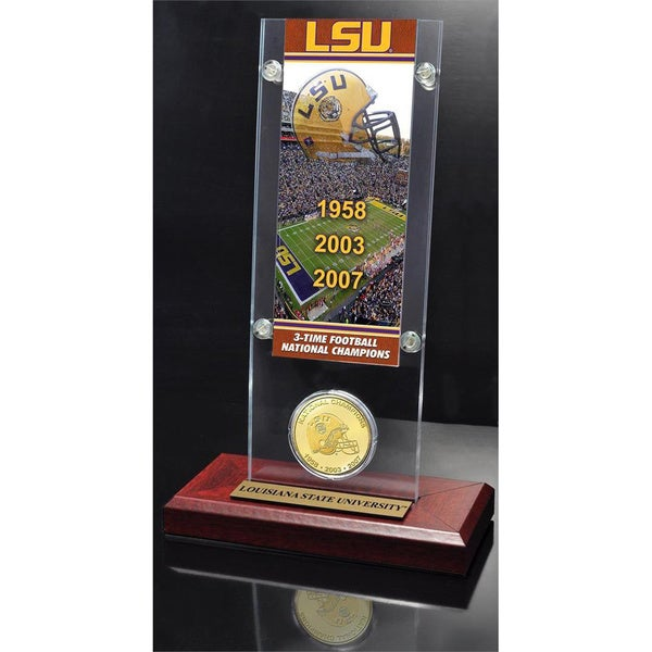 Louisianna State University 3-Time National Champs Ticket and Bronze Coin