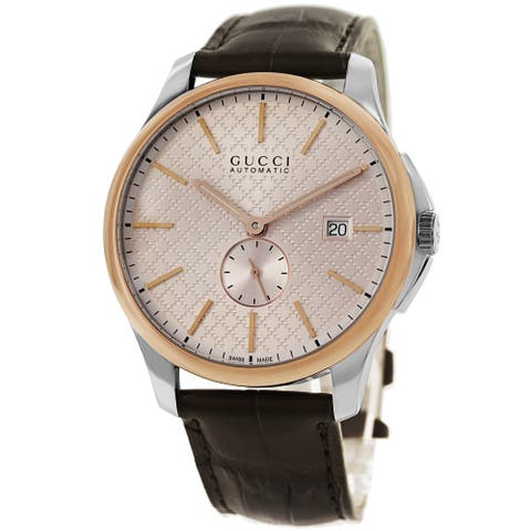 Gucci Men's YA126314 'Timeless' Pink Dial Brown Leather Strap Automatic Watch
