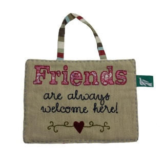 Handmade Linen Hanging 'Friends' Sign Wall Decor (India)