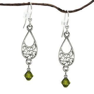 Jewelry by Dawn Pewter Filigree Teardrop Olive Green Crystal Dangle Earrings