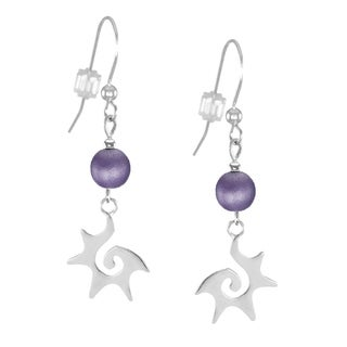 Jewelry by Dawn Sterling Silver Purple Starburst Dangle Earrings